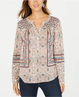 Style&Co. Style & Co Petite Scarf-Print Peasant Top