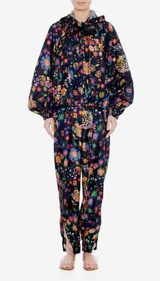 Tibi Tech Floral Jacket with Detachable Hood