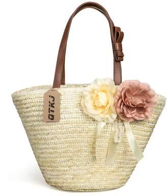 db40d8eaf044 QTKJ Women Straw Beach Bag Bow Tied with 2 Flowers Stylish Handbags  Shoulder Bags