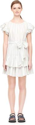 Rebecca Taylor Yarn Dyed Stripe Ruffle Dress