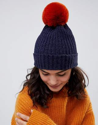 Asos DESIGN chenille beanie in tobacco brown pom