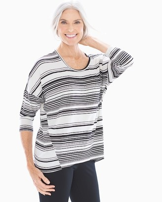 Soft Jersey Dolman Sleeve Top Soft Stripe Ivory