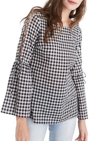 Women's Madewell Lace-Up Sleeve Gingham Blouse