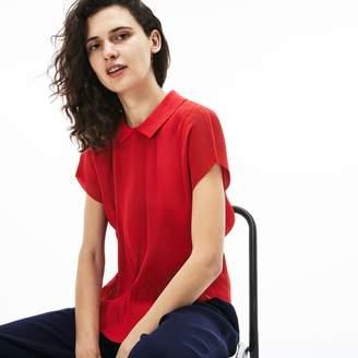 Lacoste Women's Polo Collar Crepe Top