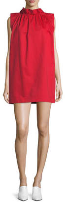 Atlantique Ascoli High-Neck Sleeveless Cotton-Linen Shift Dress