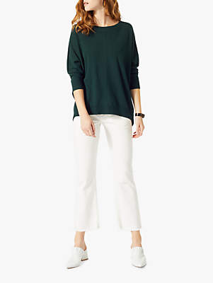 Button Back Dropped Hem Jumper, Eucalyptus