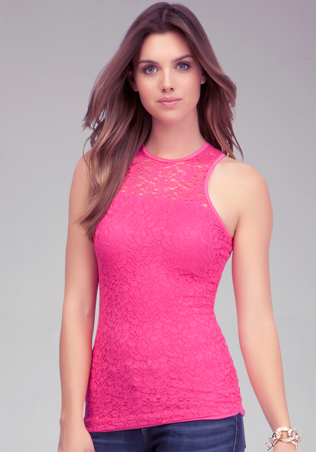 Bebe Lace Architectural Tank