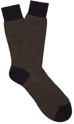 Pantherella Fabian Herringbone Cotton Blend Socks - Mens - Navy Multi