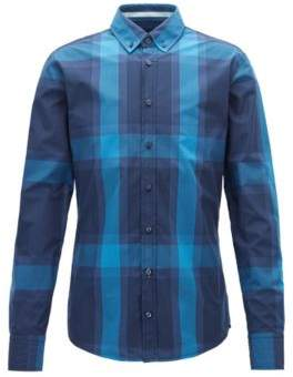 BOSS Hugo Slim-fit shirt in cotton poplin oversized check pattern XXXL Dark Blue