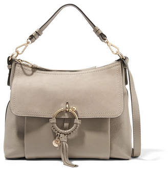 See by Chloe Joan Medium Suede-paneled Textured-leather Shoulder Bag - Mushroom