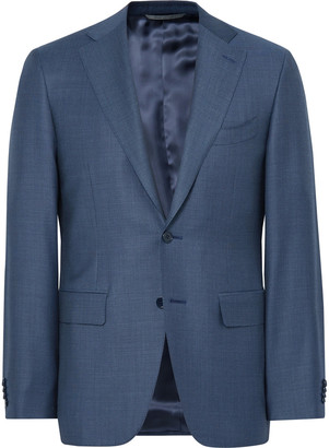 Canali Blue Slim-Fit Water-Resistant Birdseye Wool Suit Jacket $1,455 thestylecure.com