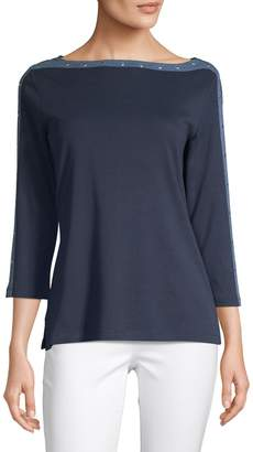 Karen Scott Three-Quarter-Sleeve Studded Boatneck Top