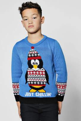 boohoo Boys Happy Penguin Christmas Jumper