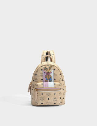 MCM Rabbit Mini Backpack in Beige Visetos