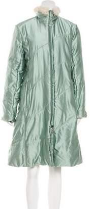 Versace Fur-Trimmed Iridescent Coat