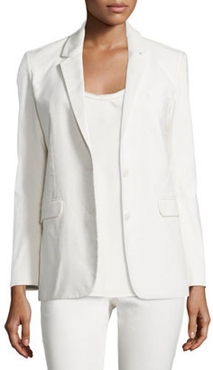 Helmut Lang Two-Button Cotton-Blend Jacket, Ivory $745 thestylecure.com