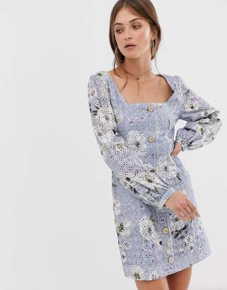 We Are Kindred Sookie printed broderie mini dress with button down front