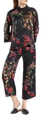 Natori N Floral-Print Silky Satin Pajama Set