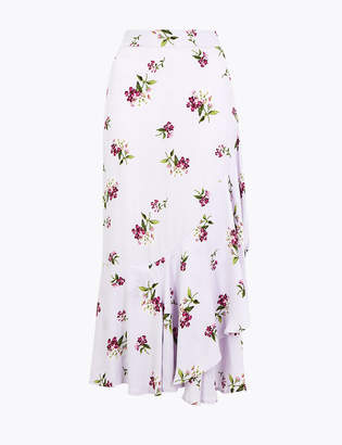 Marks and Spencer Printed Ruffle Midi Skirt