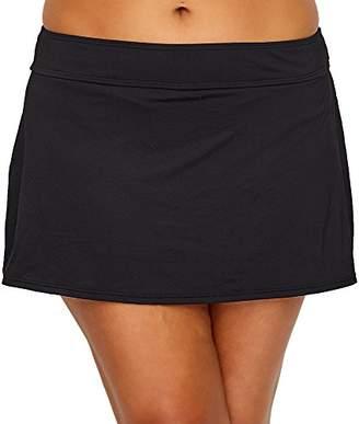 Anne Cole Women's Plus Size Solid Rock Skirted Bikini Swim Bottom