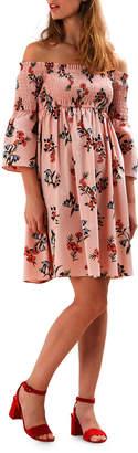 Donna Morgan Smocked Off-the-Shoulder Floral Dress