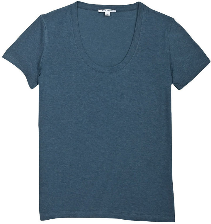 Women's short-sleeved V-neck tee in cotton, wool and silk