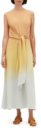 Lafayette 148 New York Winslet Prism Ombre Sleeveless Tie-Waist Maxi Dress