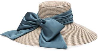 c9bb6adfd18de Mirabel Textured Straw Sun Hat w  Satin Bow