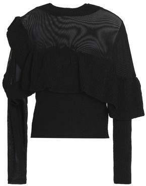 Raoul Mesh-Paneled Ruffled Cotton Sweater