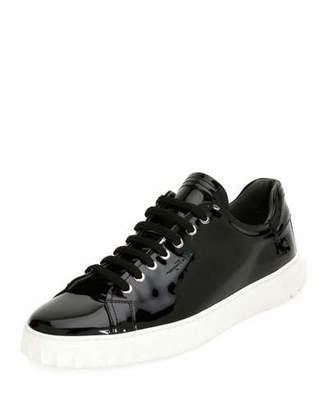 Salvatore Ferragamo Men's Patent Leather Low-Top Sneakers