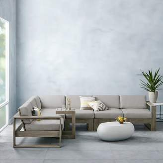 west elm Portside Outdoor 4-Piece Sectional - Weathered Gray