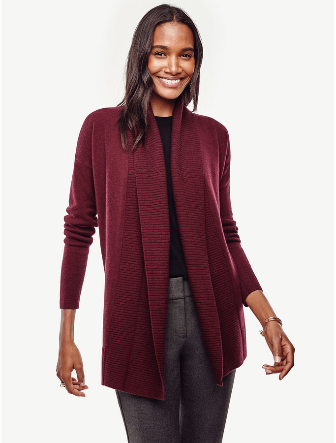 Petite Ribbed Trim Open Cardigan