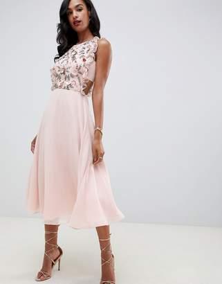 Asos Design DESIGN midi dress with pinny bodice in 3D floral embellishment
