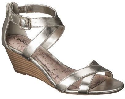 Merona Women's Edda Zip Back Low Wedge Sandal - Gold