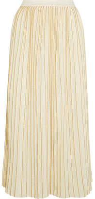 Gucci Metallic Pleated Wool-blend Midi Skirt - Ivory