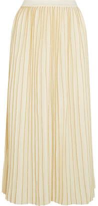 Gucci Metallic Pleated Wool-blend Midi Skirt - Ivory