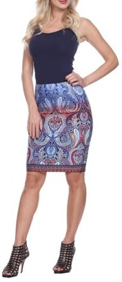 White Mark Women's Colorful Paisley Printed Pencil Skirt