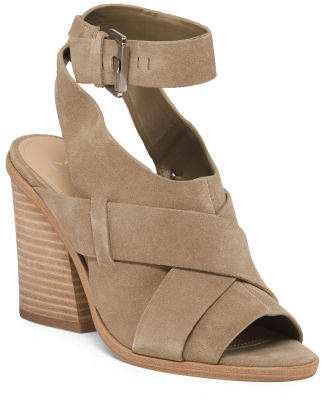 Suede Ankle Wrap Peep Toe Sandals