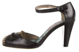 Kenzo Leather Round-Toe Ankle Strap Pumps