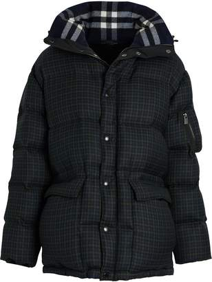 Burberry Check Wool Down-filled Hooded Jacket