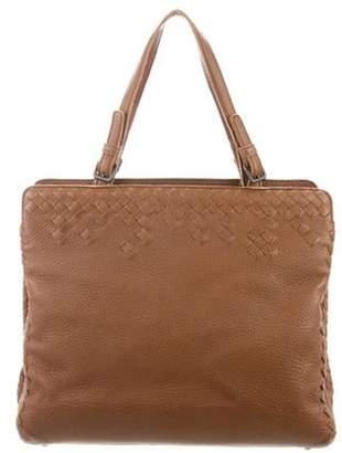 Bottega Veneta Intrecciato-Trimmed Leather Tote Cognac Intrecciato-Trimmed Leather Tote