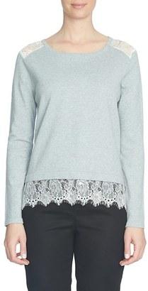 CeCe Lace Trim Crewneck Sweater $99 thestylecure.com