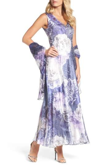 Komarov Lace-Up Back Print Maxi Dress with Shawl