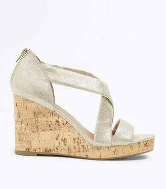 New Look Silver Shimmer Cross Strap Cork Wedges