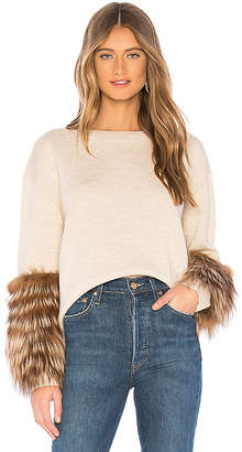 Alice + Olivia Shiela Sweater With Fur Cuffs