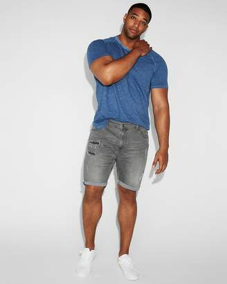 Express Slim 9 Inch Gray Destroyed Denim Shorts