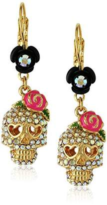 Betsey Johnson Women's Betsey Vampire Crystal Skull Earrings Drop Earrings