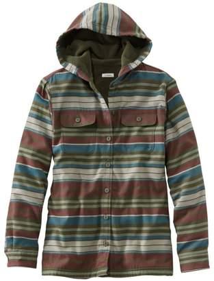 L.L. Bean L.L.Bean Fleece-Lined Flannel Hoodie, Stripe