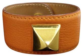 Hermes Medor Gold Tone Metal & Leather Bangle Bracelet