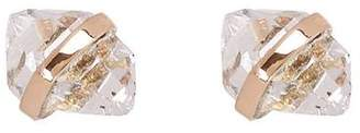 Melissa Joy Manning Gold Bezel Wrapped Herkimer Diamond Stud Earrings